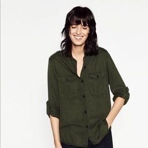Zara Military Button Down Shirt